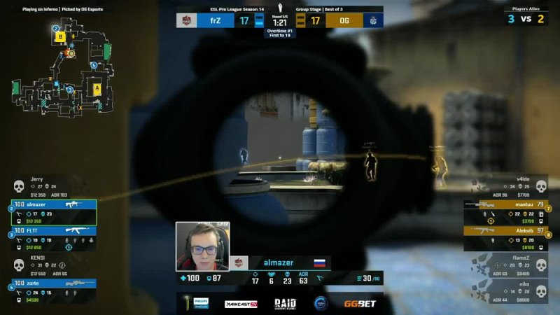 Mantuu 4 AWP kills on the offensive including 1vs3 clutch