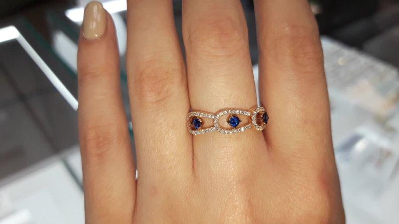 Золотое кольцо с сапфирами и бриллиантами в 16 КАРАТ