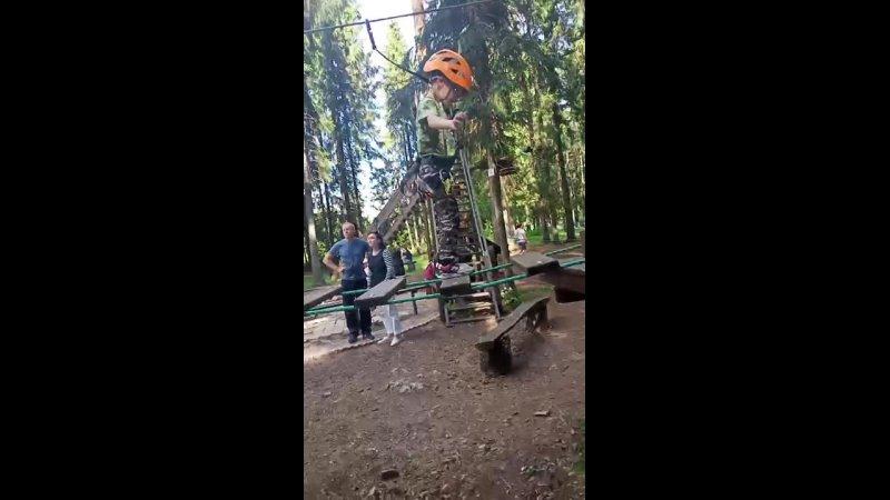 Порошино Дубровский парк Отдых с ребенком прохождение верёвочной трассы