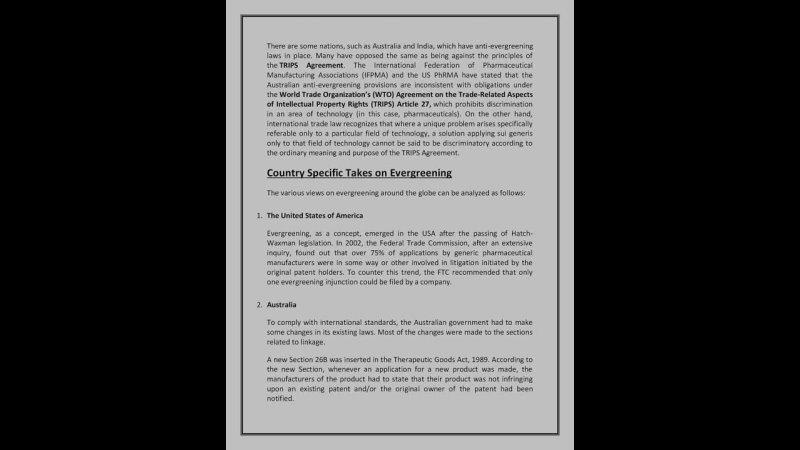 Evergreening of Patents