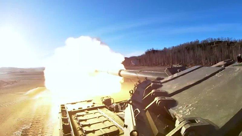 Контрольные занятия с танкистами Северного флота