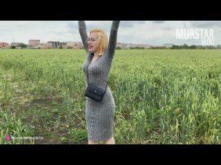 Получила сперму на лицо в поле