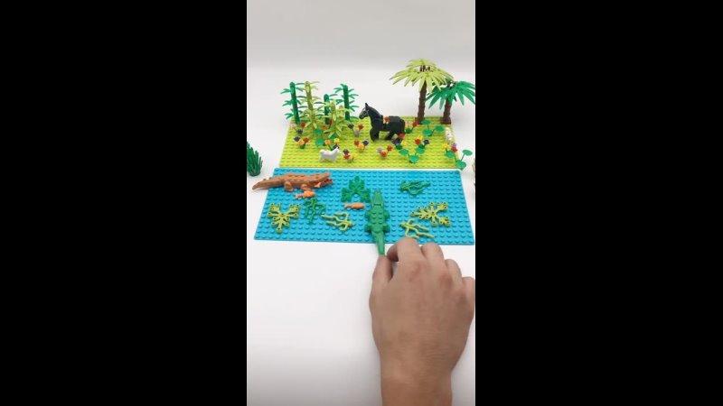 Деревья растения город мос животные набор блоки части с плинтусом совместимые кирпичи аксессуары diy строительные игрушки дети