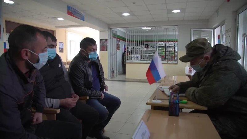 Работа российских миротворцев в пункте приема граждан в Нагорном Карабахе