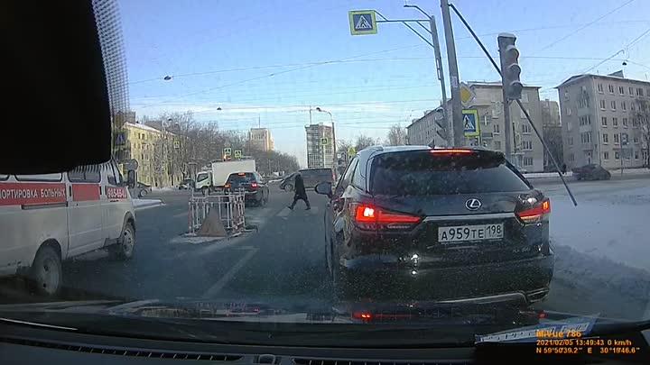 5 февраля около 13:50 Я на Гранте ехал прямо по Ленсовета по трамвайным путям (на видео слева напра...
