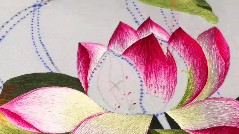 Hand Embroidery - Lotus Flower Embroidery