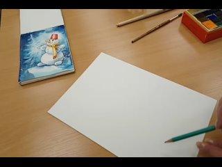 """Мастер-класс по рисованию новогодней открытки """"Весёлый снеговик"""""""
