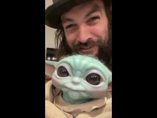 Jason Momoa and his Baby Grogu