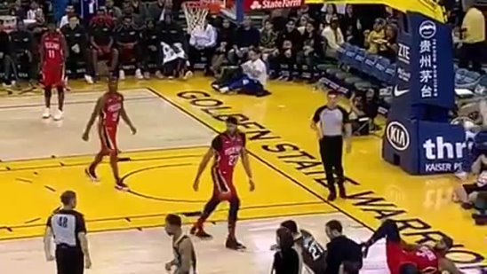 Demarcus Cousins vs. Zaza Pachulia Double flop !! Warriors vs. Pelicans NBA