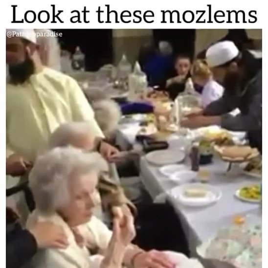 """These """"mozlems"""" are having a tea party at a care home.. this is an amazing thing all communities and masjids should be doing... visiting the care homes weekly will show the elderly how great Islam is and how caring and loving its teachings are ! And because of this small act, those elderly who are going to die due to there old age can accept Islam in the dieing moments and get all of there sins removed plus be protected from the fire of hell ! Isn't that amazing ? Just by visiting them Allah can grant them hidayah"""