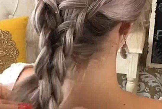 Обалденная широкая коса для праздничного вечера