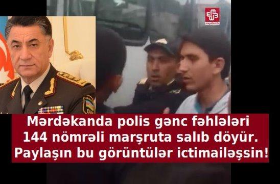 Mərdəkanda polis gənc fəhlələri 144 nömrəli marşruta salıb, döyür. 13.10.2016.