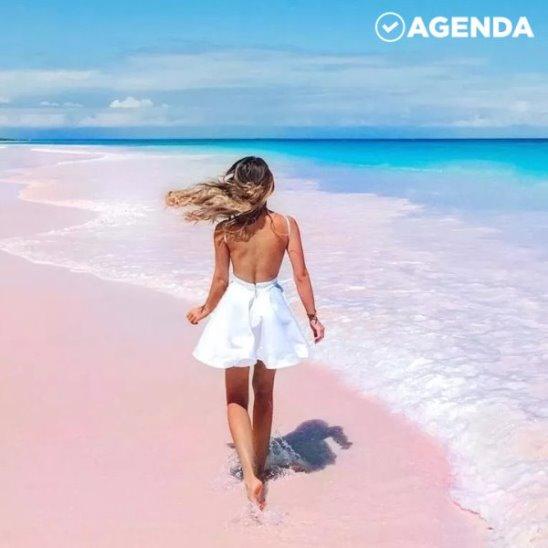 Розовый пляж на острове драконов