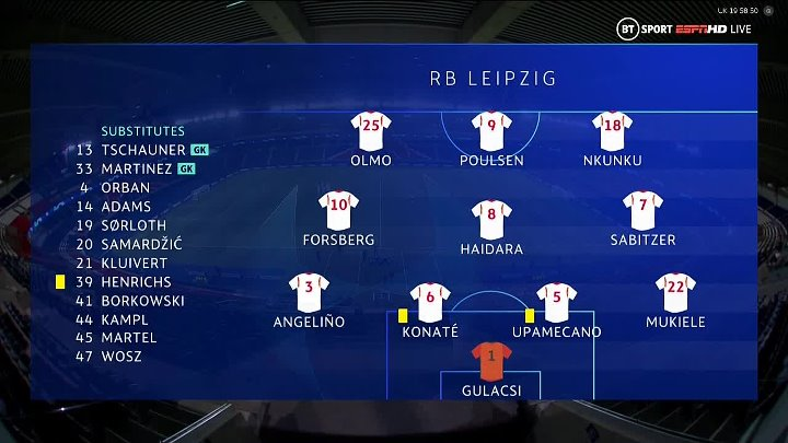 Paris Saint Germain (PSG)  -  RB Leipzig