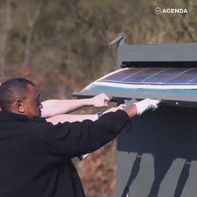 Солнечные панели на огромном барабане