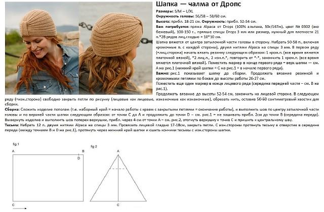 семь вариантов вязания женских шапок типа чалма схемы с описанием
