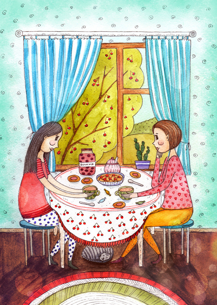 голубом картинка семья за столом с пирогами баранины блюдо кавказской