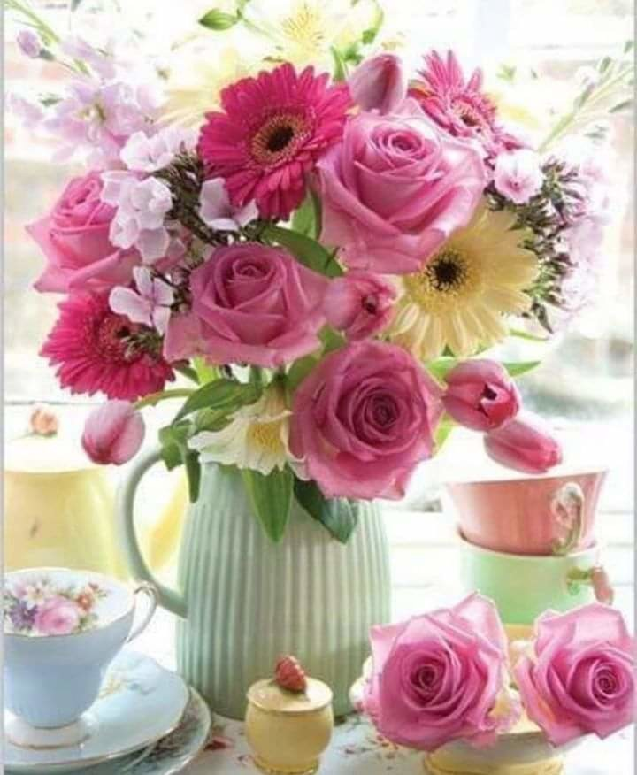открытка с добрым утром с цветами много небо рассеивает