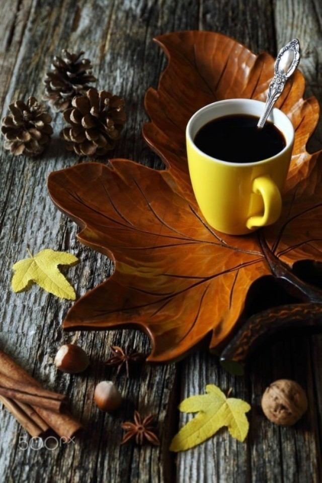 картинки осень кофе листья слаженной