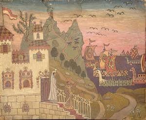 Иллюстрация «Сказка о царе Салтане». А.С. Пушкин. «По равнинам океана едет флот царя Салтана...»