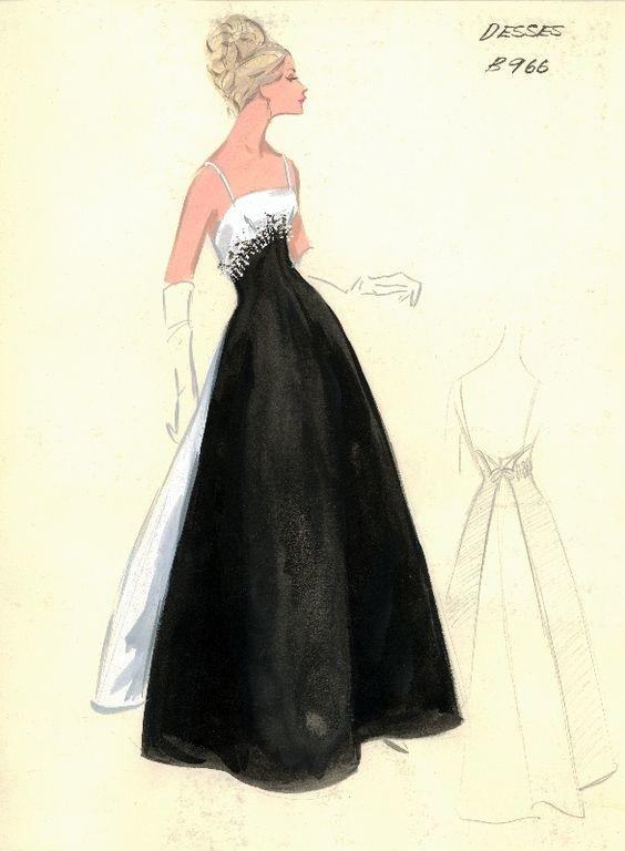 f769968f93f Коллекция эскизов из архива шикарного нью-йоркского универмага Bergdorf  Goodman  модели коктейльных и вечерних платьев от самых именитых  дизайнеров