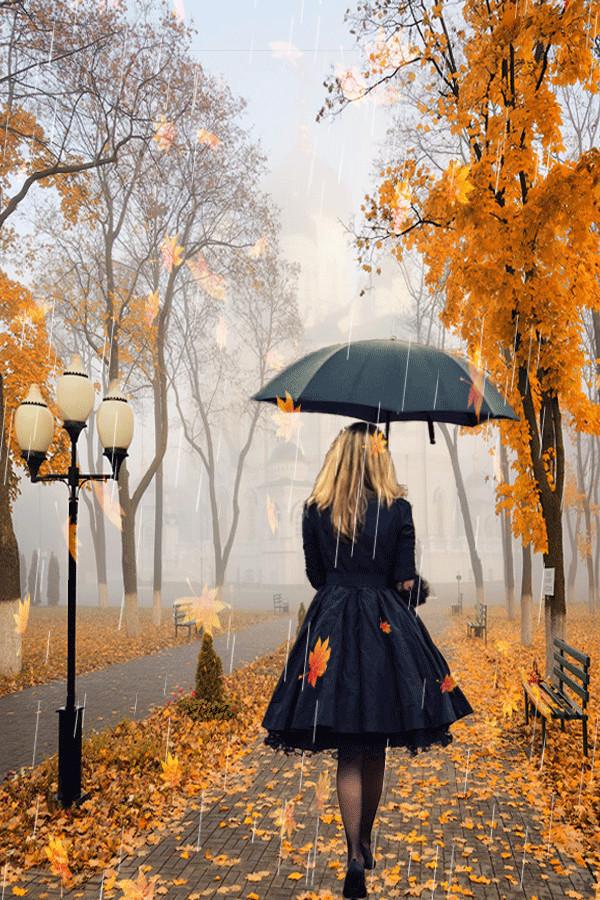 Открытки осень и дождь
