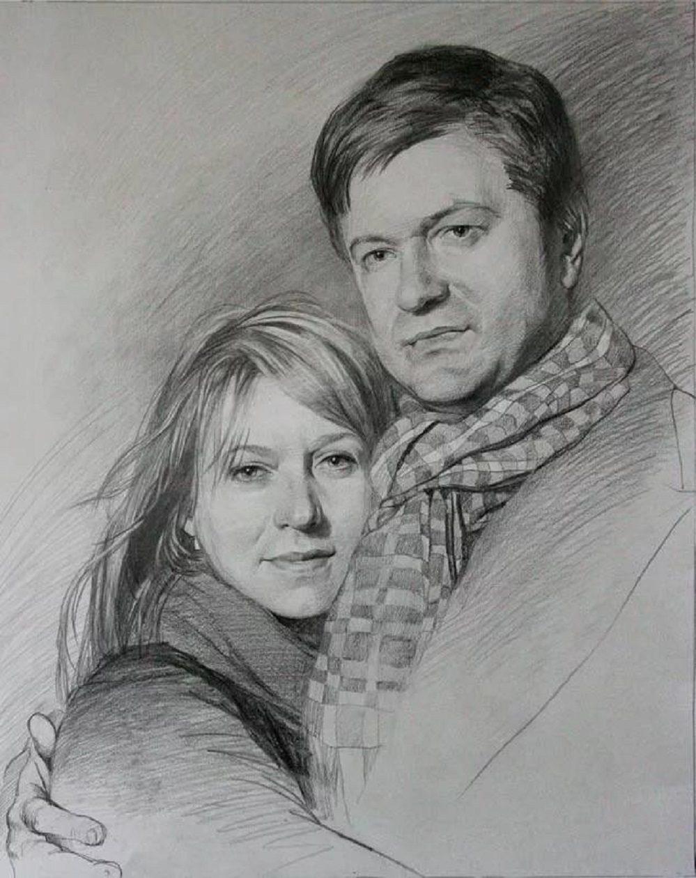 самой как нарисовать портрет пары по фото она это