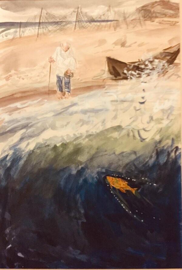 Иллюстрация к «Сказке о рыбаке и рыбке» А.С. Пушкина. Старик у моря