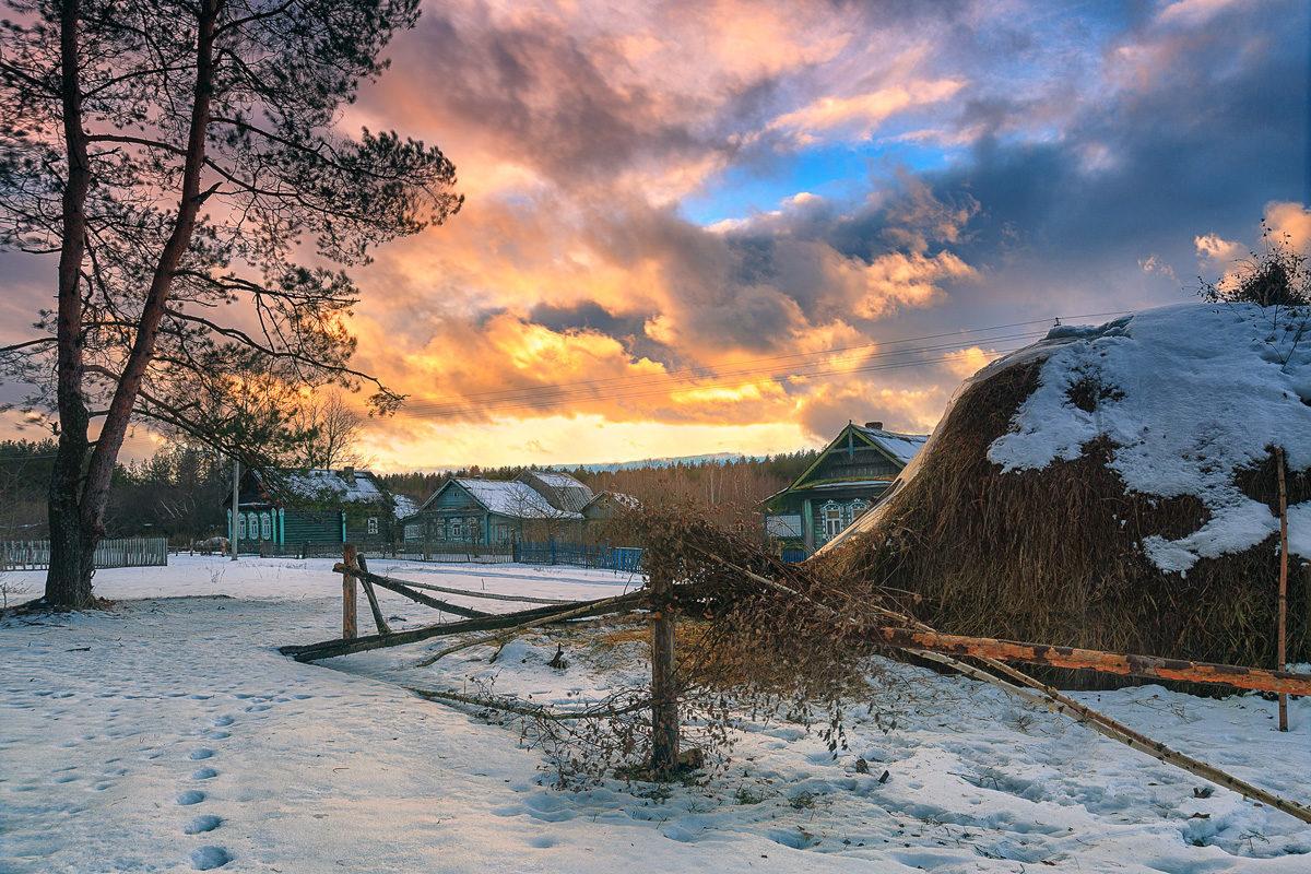 прошлой неделе зима в селе пейзаж фото семье молочных