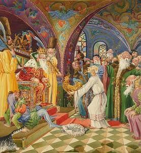 Иллюстрация «Сказка о золотом петушке» А.С. Пушкина. Звездочет с петушком у царя