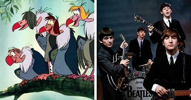 Грифы из «Книги джунглей» были срисованы с The Beatles.