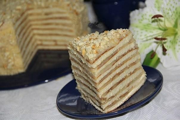 Торт на сковороде со сгущенкой.
