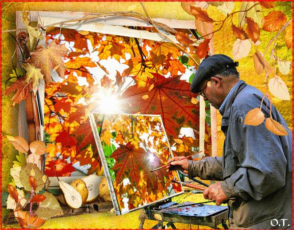 Картинка художник рисует осень
