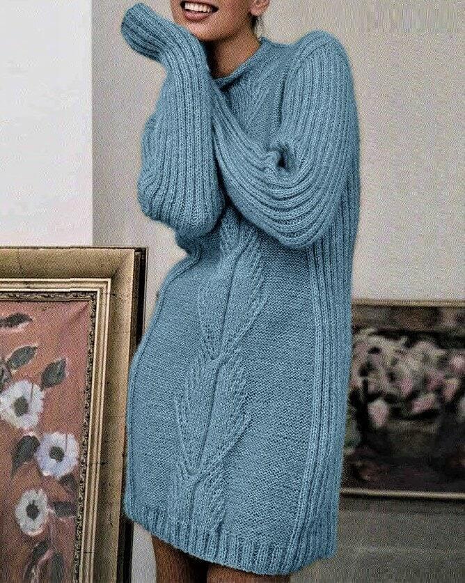 Тёплое платье спицами