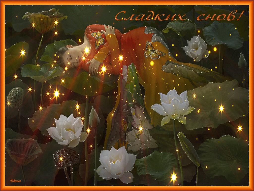 Открытки спокойной ночи женщине красивые мерцающие лесные
