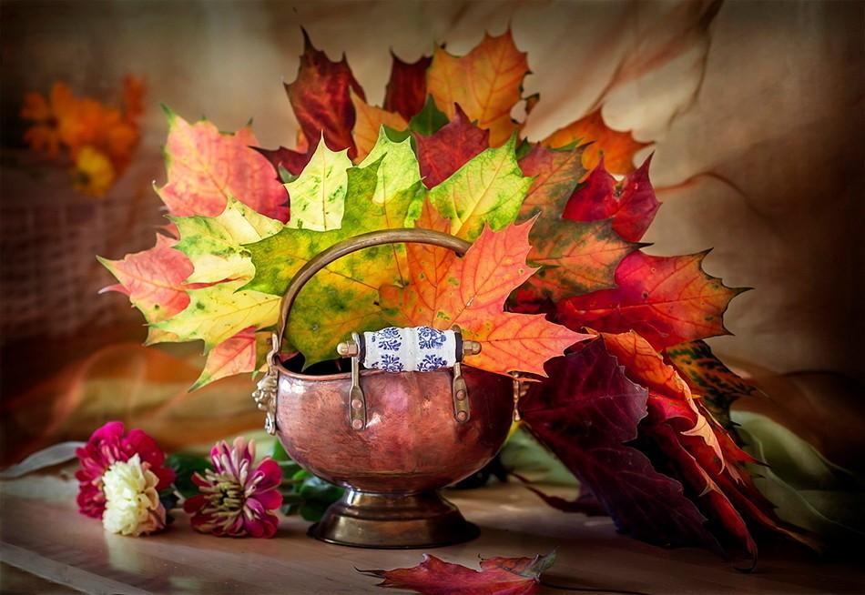 Поздравительная открытка, открытки с осенним букетом из листьев