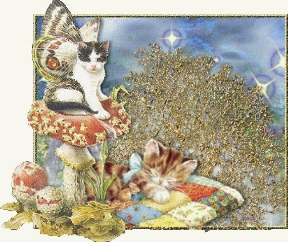 Прости, мерцающие открытки с котятами