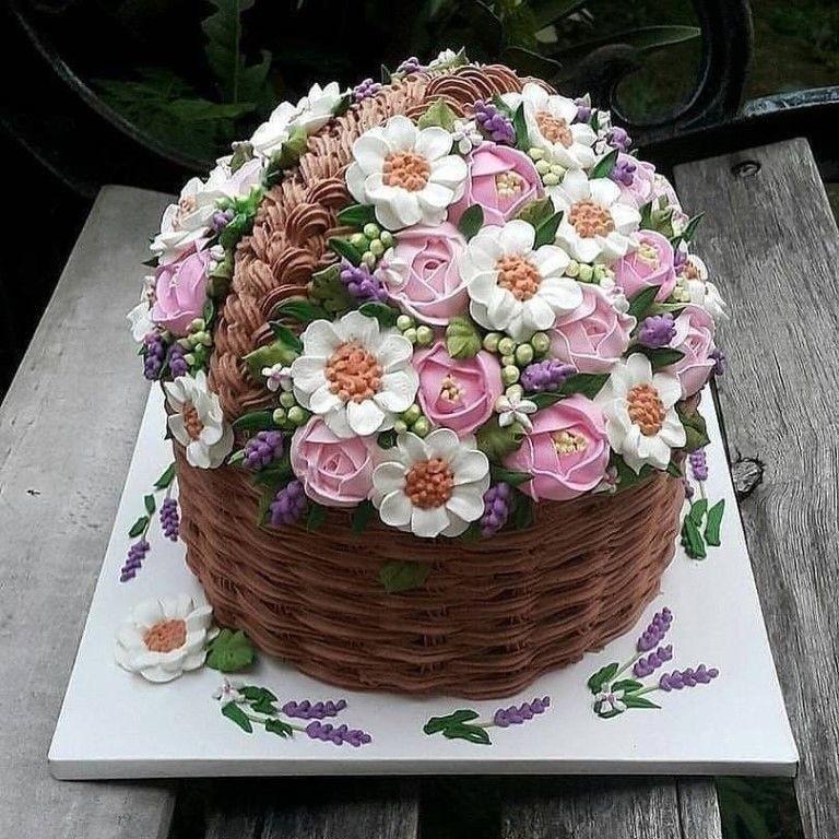 кремовый торт корзинка с цветами картинки приготовить