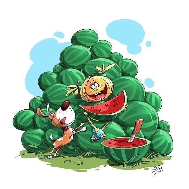 Смешные арбузы рисунок