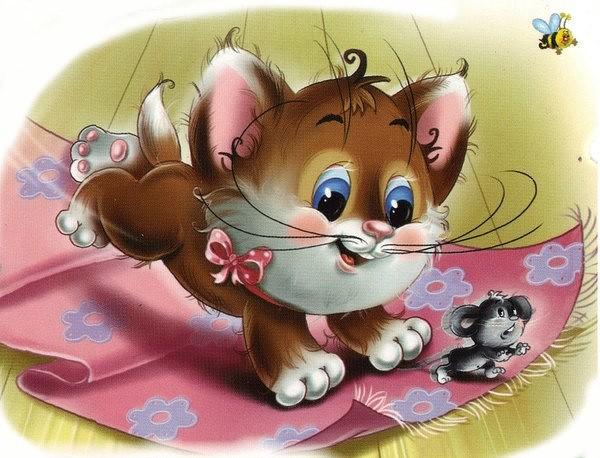 Картинки кот и мышь для детей, сделать открытку