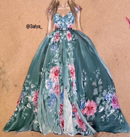 895056011f7 Фэшн иллюстрации  Изысканные рисунки платьев.