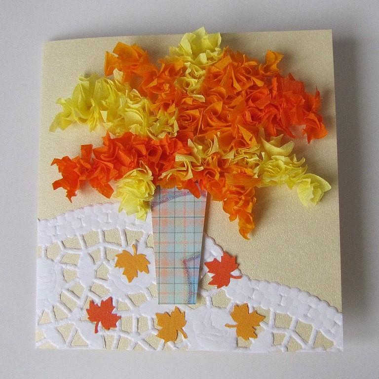 Открытка с осенними листьями из бумаги своими руками