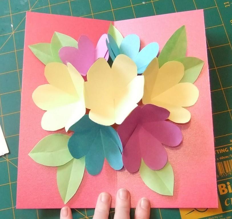 Открытка с цветами пошагово