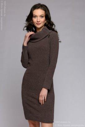 a5b5d114579463c Платье цвета мокко длины миди с воротом на молнии 1001dress